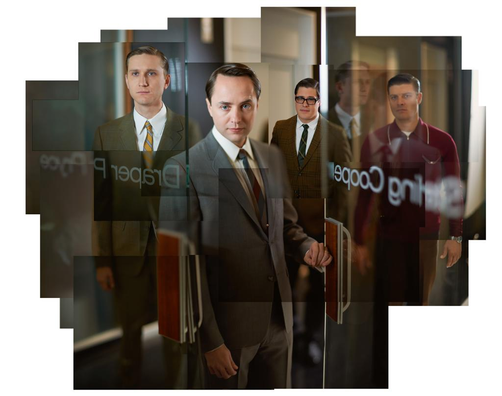 """Aaron Stanton as Ken Cosgrove, Vincent Kartheiser as Pete Campbell, Rich Sommer as Harry Crane, and Jay R. Ferguson as Stan Rizzo in """"<a target=""""_blank"""" href=""""http://tv.yahoo.com/mad-men/show/39828"""">Mad Men</a>."""""""
