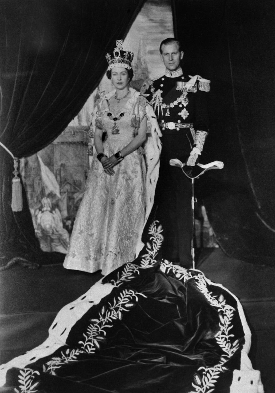 "<p>With the sudden death of her father in 1952, Elizabeth became queen at just 25-years-old. Ahead of her coronation the following year Prince Philip was required to abandon his promising military career to serve as his queen's ""liege man of life and limb."" Photo: Getty Images.</p>"
