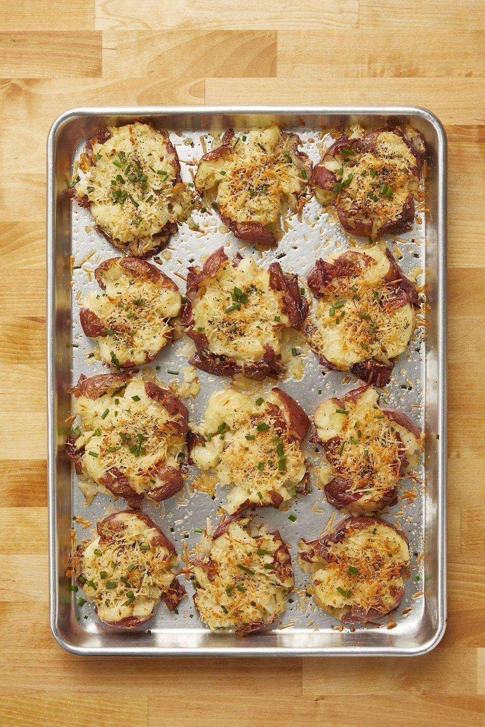 "<p>Mashed potatoes are delicious, but they've got nothing on Ree's smashed potatoes. They're fluffy, too, but with a crispy exterior as well.</p><p><strong><a href=""https://www.thepioneerwoman.com/food-cooking/recipes/a10944/crash-hot-potatoes/"" rel=""nofollow noopener"" target=""_blank"" data-ylk=""slk:Get the recipe"" class=""link rapid-noclick-resp"">Get the recipe</a>.</strong></p><p><strong><a class=""link rapid-noclick-resp"" href=""https://go.redirectingat.com?id=74968X1596630&url=https%3A%2F%2Fwww.walmart.com%2Fsearch%2F%3Fquery%3Dbaking%2Bsheets&sref=https%3A%2F%2Fwww.thepioneerwoman.com%2Ffood-cooking%2Fmeals-menus%2Fg35589850%2Fmothers-day-dinner-ideas%2F"" rel=""nofollow noopener"" target=""_blank"" data-ylk=""slk:SHOP BAKING SHEETS"">SHOP BAKING SHEETS</a></strong></p>"