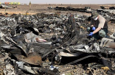 A military investigator from Russia stands near the debris of a Russian airliner at its crash site at the Hassana area in Arish city, north Egypt, November 1, 2015. REUTERS/Mohamed Abd El Ghany