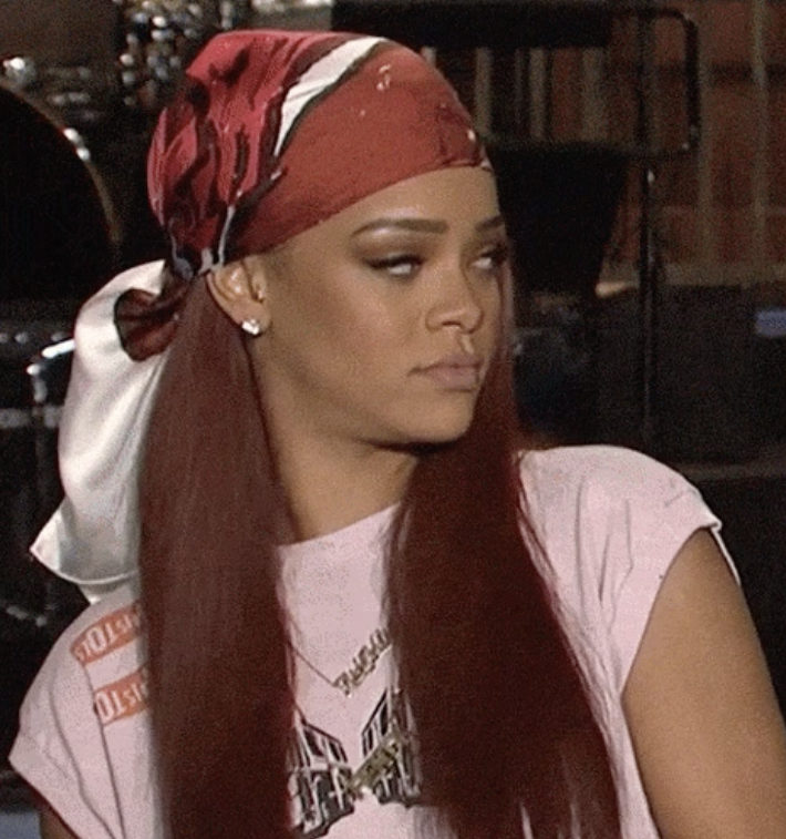 """Rihanna giving an annoyed expression in an """"SNL"""" promo"""