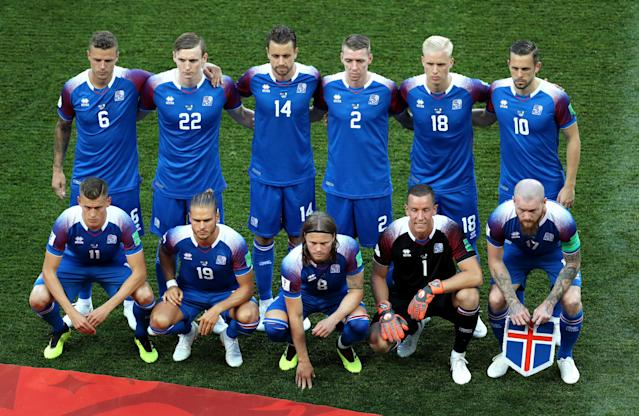 Iceland team pose prior to the 2018 FIFA World Cup Russia group D match between Nigeria and Iceland at Volgograd Arena on June 22, 2018 in Volgograd, Russia. (Getty Images)