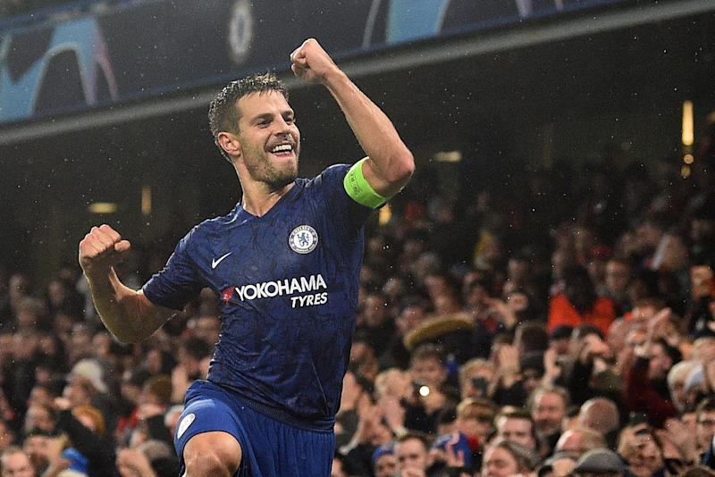 Chelsea's Spanish defender Cesar Azpilicueta celebrates after scoring their second goal during the UEFA Champion's League Group H football match between Chelsea and Lille at Stamford Bridge in London on December 10, 2019. (Photo by Glyn KIRK / AFP) (Photo by GLYN KIRK/AFP via Getty Images)