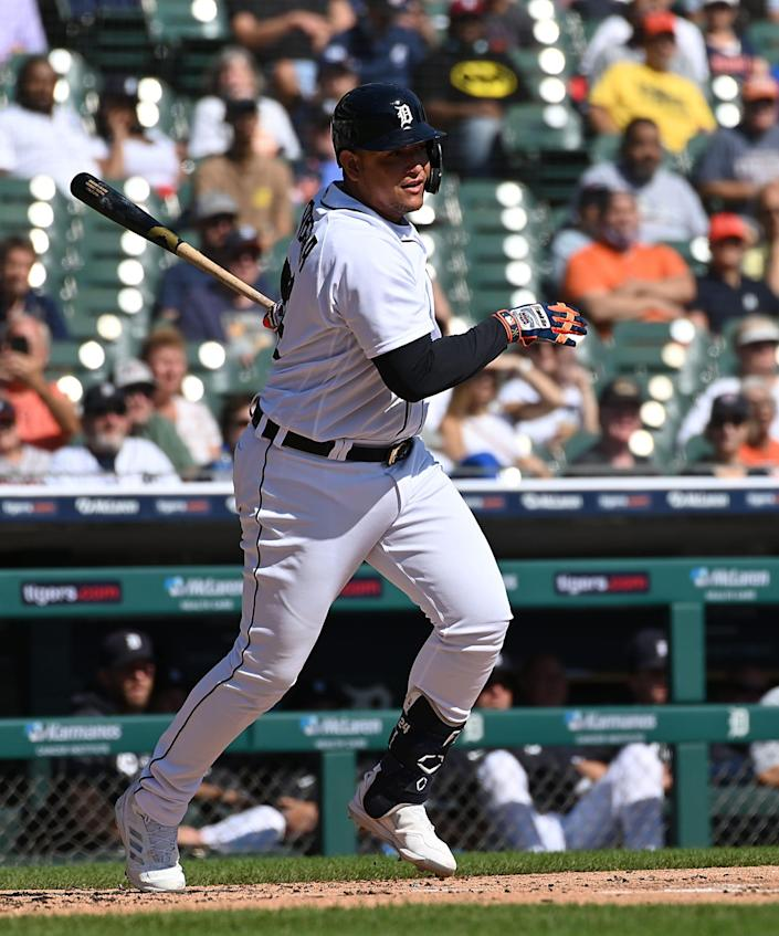 Tigers designated hitter Miguel Cabrera hits career number 2,985 in the first inning on Monday, Sept. 27, 2021, at Comerica Park.