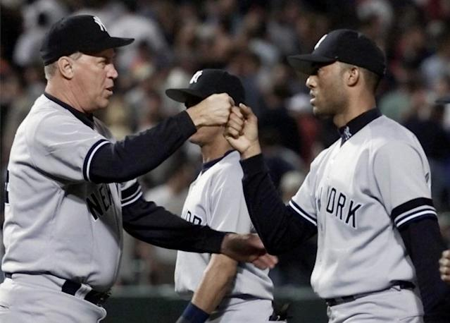 Legendary Yankees pitching Mel Stottlemyre was honored by his star pupil, new Hall of Famer Mariano Rivera. (AP)
