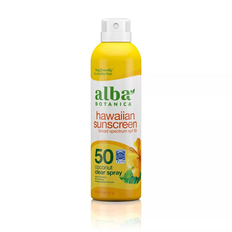 <p><span>Alba Hawaiian Clear Spray Sunscreen</span> ($11) has gentle ingredients and sprays on clear so there's no white cast left on darker skin tones.</p>