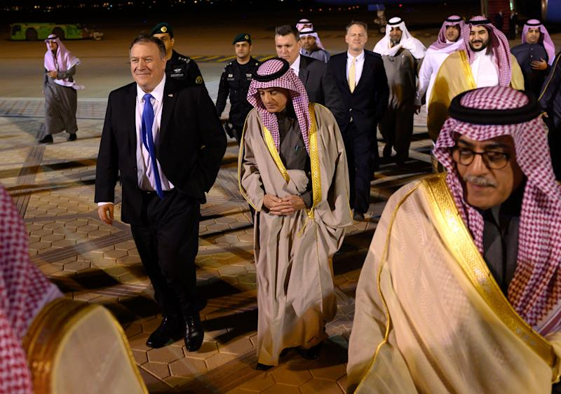 US Secretary of State Mike Pompeo, left, is greeted by Saudi's Minister of State for Foreign Affairs Adel al-Jubeir in Riyadh on Sunday, January 13, 2019, during his Middle East tour.