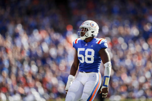 Florida EDGE Jonathan Greenard made the most of his one season in Gainesville. (Photo by James Gilbert/Getty Images)