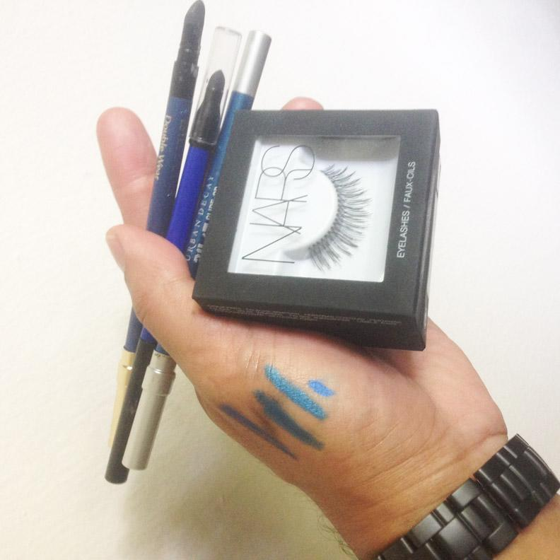 """""""Picking the right blue is hard to do, but we settled with Estée Lauder Double Wear Stay-In-Place Eye Pencil in Electric Cobalt Blue,"""" says Barose. """"You can't do disco eyes without the lashes. Nars eyelashes are so easy to wear — Vicky said she can't even feel them."""""""