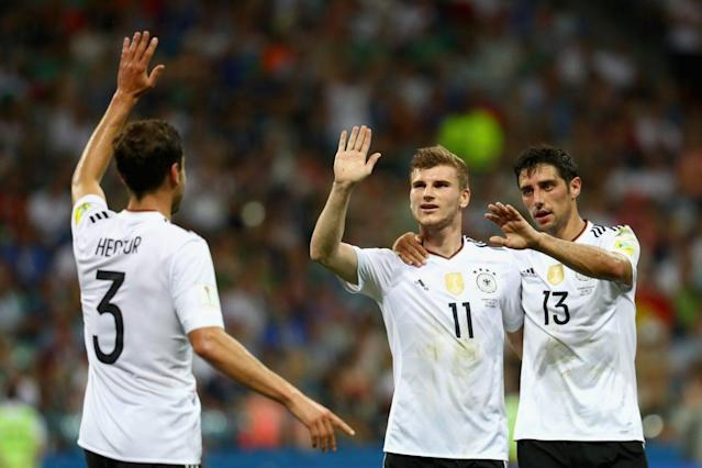 "<a class=""link rapid-noclick-resp"" href=""/soccer/players/timo-werner/"" data-ylk=""slk:Timo Werner"">Timo Werner</a> (C) and his German teammates dominated Mexico, which raises questions about both El Tri and the rest of the world's capability of hanging with the reigning world champions. Getty)"