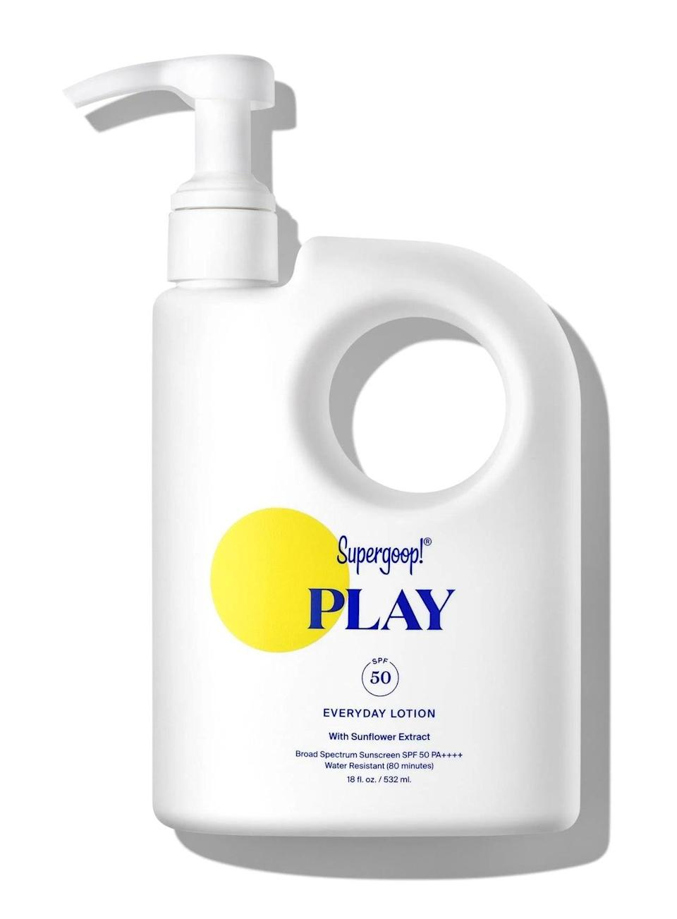 <p><span>Supergoop! Play Everyday Lotion SPF 50 with Sunflower Extract</span> ($58) is a clean formula that's both water and sweat resistant. It prevents dehydration of the skin while serving as a high-preforming sun protectant.</p>