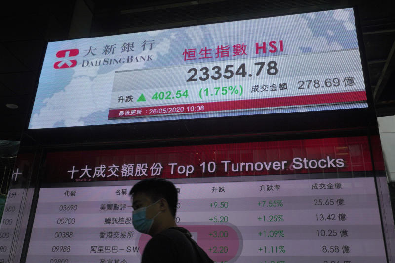 A man wearing face mask walks past a bank electronic board showing the Hong Kong share index at Hong Kong Stock Exchange Tuesday, May 26, 2020. Asian shares are rising as some regions in Japan resume near-normal business activity, with hopes for economic recovery overshadowing worries over the coronavirus pandemic. (AP Photo/Vincent Yu)