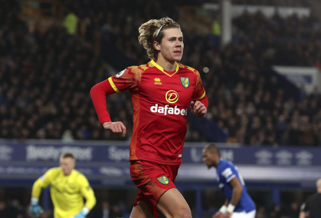 Norwich City's Todd Cantwell celebrates scoring his sides first goal during the English Premier League soccer match between Norwich City and Everton, at Goodison Park, Liverpool, England, Saturday, Nov. 23, 2019. (Richard Sellers/PA via AP)
