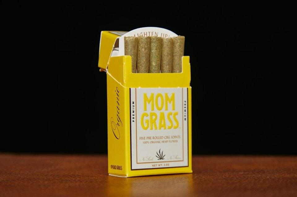 """<h2>Mom Grass Hemp CBG Preroll 5-Pack</h2><br><a href=""""https://www.refinery29.com/en-us/mothers-day-mom-grass"""" rel=""""nofollow noopener"""" target=""""_blank"""" data-ylk=""""slk:The creators of Dad Grass"""" class=""""link rapid-noclick-resp"""">The creators of Dad Grass</a> (a line of CBD-centric pre-rolled joints that favor quality over potency) dropped this aptly named April bestseller just in time for Mom's Day shoppers to cart it up. The Mom Grass pre-rolled joints contain 100% organic hemp and CBG (Cannabigerol, a non-psychoactive cannabinoid) that is described as providing a body high, as opposed to Dad Grass's head high. <br><br><em>Shop <strong><a href=""""https://dadgrass.com/collections/mom-grass/products/mom-grass-hemp-cbg-preroll-5-pack"""" rel=""""nofollow noopener"""" target=""""_blank"""" data-ylk=""""slk:Dad Grass"""" class=""""link rapid-noclick-resp"""">Dad Grass</a></strong></em><br><br><strong>Dad Grass</strong> Mom Grass Hemp CBG Preroll 5 Pack, $, available at <a href=""""https://go.skimresources.com/?id=30283X879131&url=https%3A%2F%2Fdadgrass.com%2Fcollections%2Fmom-grass%2Fproducts%2Fmom-grass-hemp-cbg-preroll-5-pack%3Fvariant%3D39337429565526"""" rel=""""nofollow noopener"""" target=""""_blank"""" data-ylk=""""slk:Dad Grass"""" class=""""link rapid-noclick-resp"""">Dad Grass</a>"""