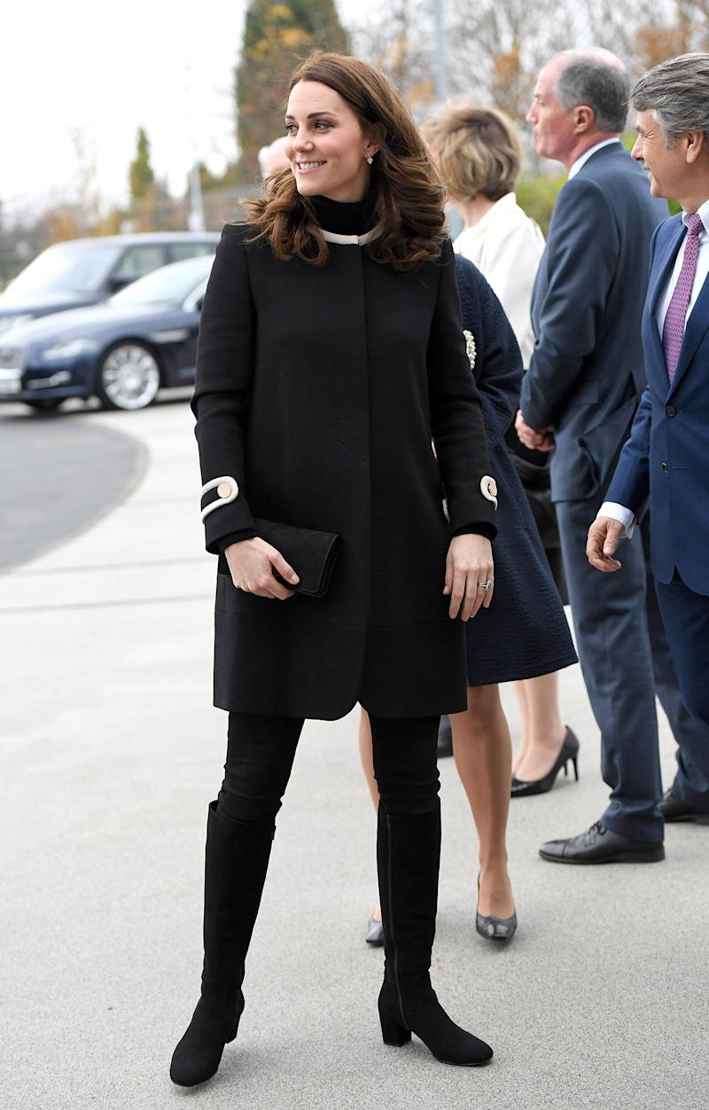 Kate Middleton wears maternity peacoat