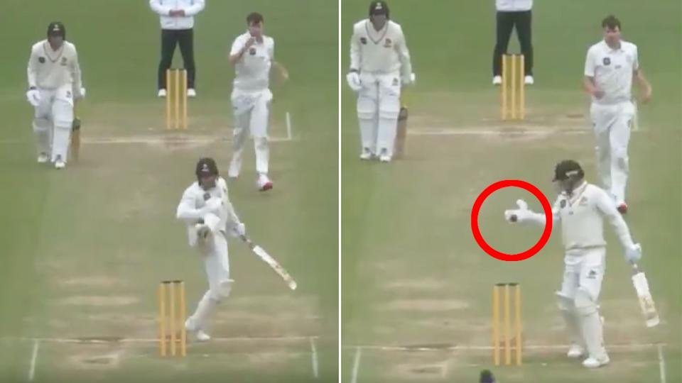 Seen here, Tom Blundell was dismissed after a rare obstructing the field ruling.