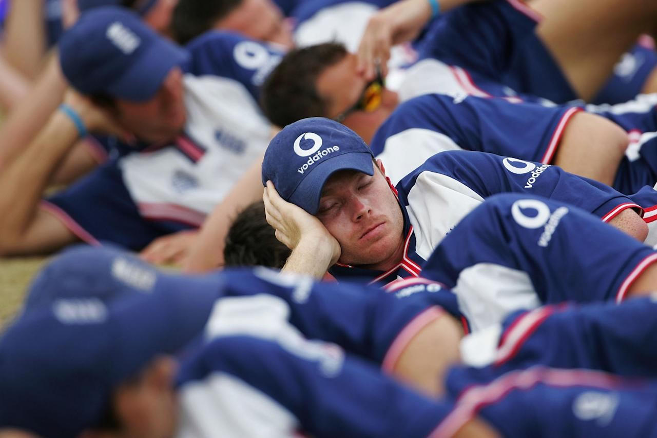 WINDHOEK, NAMIBIA - NOVEMBER 20: Ian Bell of England rests his eyes during a nets session ahead of the tour match against Namibia on November 20, 2004 in Windhoek, Namibia. (Photo by Clive Rose/Getty Images)   *** Local Caption *** Ian Bell