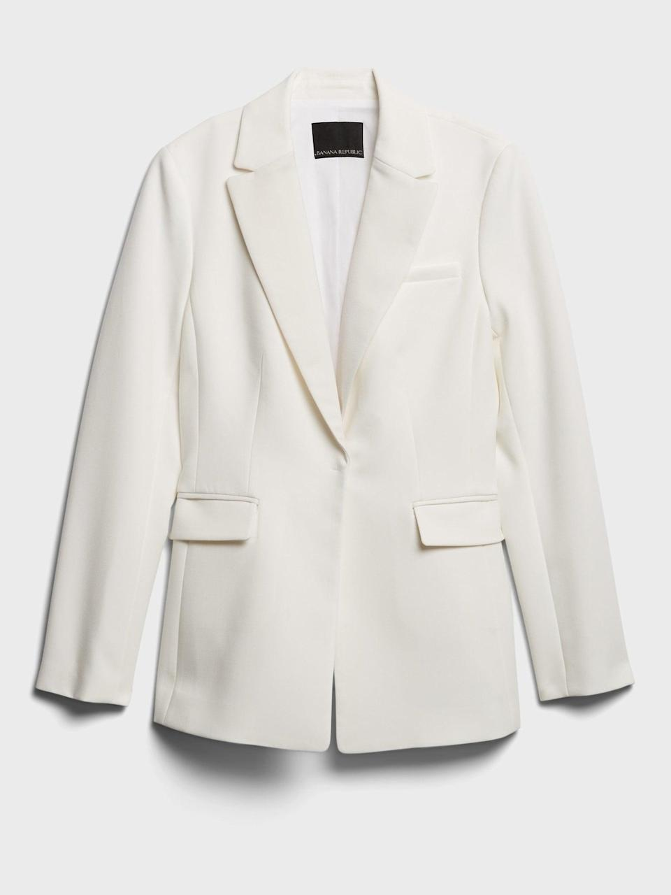 <p>This <span>Banana Republic Sculpted-Fit Tuxedo Blazer</span> ($198) can be dressed up as a full pantsuit, or down with jeans and a tee.</p>