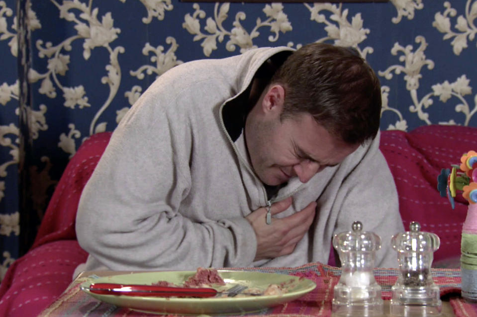 FROM ITV  STRICT EMBARGO - No Use Before Tuesday 9th February 2021  Coronation Street - Ep 10249  Monday 15th February 2021 - 1st Ep  As they continue to row over the stolen furniture, Tyrone Dobbs [ALAN HALSALL] suddenly grips his chest in agony and slumps to the floor.  Fiz Stape [JENNIE McALPINE] screams at Evelyn Plummer [MAUREEN LIPMAN] to call an ambulance.  Picture contact David.crook@itv.com   This photograph is (C) ITV Plc and can only be reproduced for editorial purposes directly in connection with the programme or event mentioned above, or ITV plc. Once made available by ITV plc Picture Desk, this photograph can be reproduced once only up until the transmission [TX] date and no reproduction fee will be charged. Any subsequent usage may incur a fee. This photograph must not be manipulated [excluding basic cropping] in a manner which alters the visual appearance of the person photographed deemed detrimental or inappropriate by ITV plc Picture Desk. This photograph must not be syndicated to any other company, publication or website, or permanently archived, without the express written permission of ITV Picture Desk. Full Terms and conditions are available on  www.itv.com/presscentre/itvpictures/terms