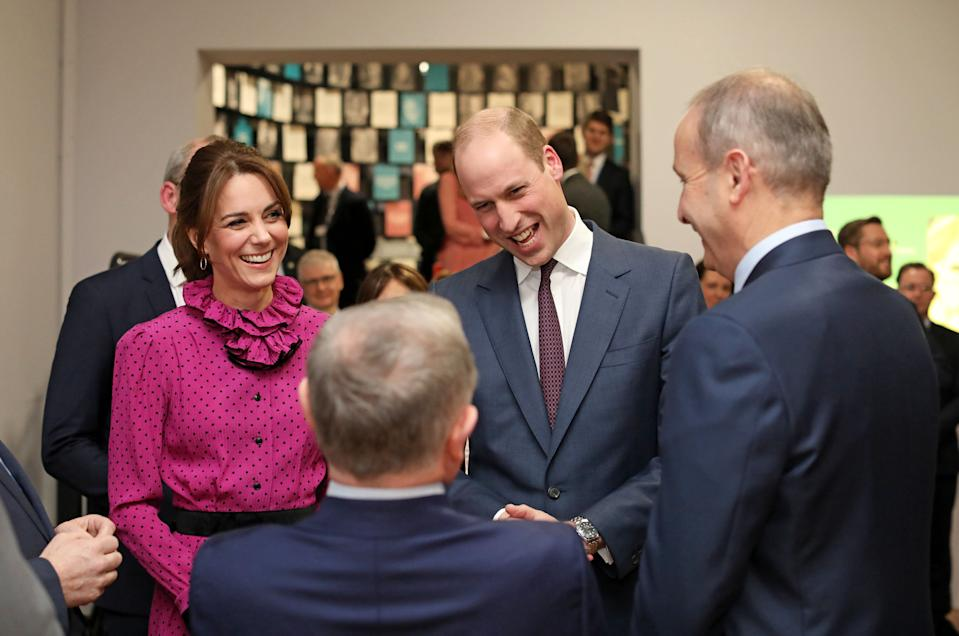 Department of Foreign Affairs and the British Embassy handout photo of the Duke and Duchess of Cambridge attending a reception hosted by Tanaiste, Simon Coveney, in central Dublin, as part of their three day visit to the Republic of Ireland.