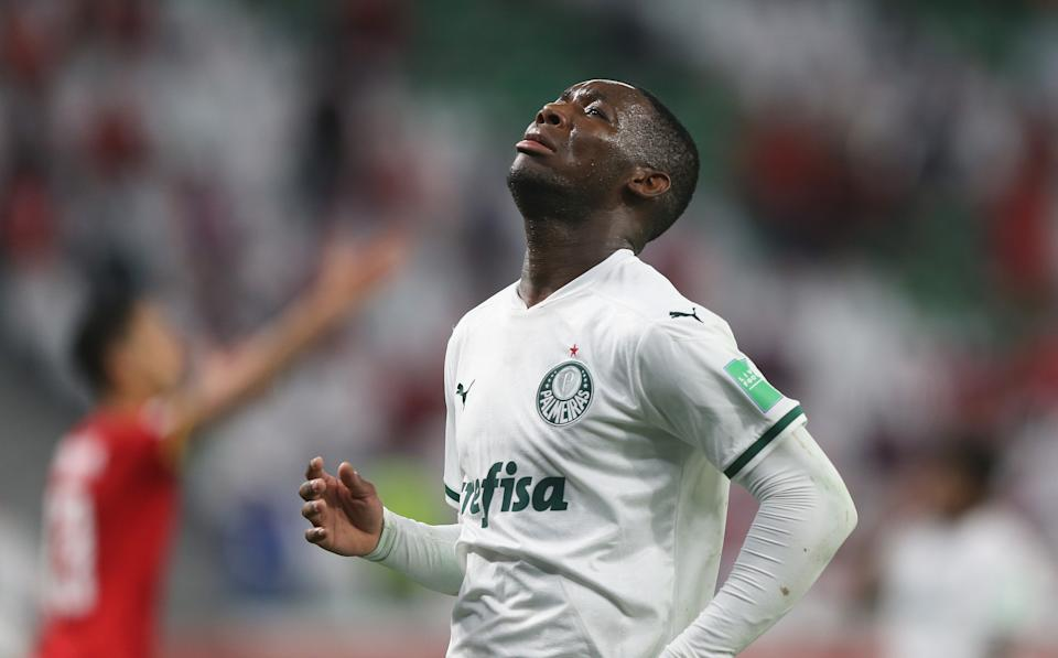DOHA, QATAR - FEBRUARY 11: Patrick de Paula of SE Palmeiras reacts during the FIFA Club World Cup Qatar 2020 3rd Place Play off match between Al Ahly and SE Palmeiras at the Education City Stadium on February 11, 2021 in Doha, Qatar. (Photo by Mohamed Farag - FIFA/FIFA via Getty Images)
