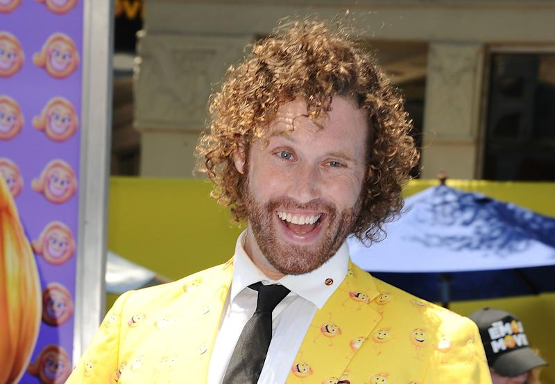 """Actor T.J. Miller attends the premiere of """"The Emoji Movie"""" on July 23, 2017, in Westwood, California."""