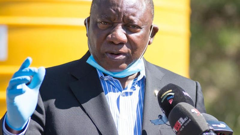 President Ramphosa visits the Human Settlements, Water and Sanitation COVID-19 Command Centre at Rand Water on April 07, 2020 in Johannesburg, South Africa. Its alleged that President Cyril Ramaphosa will be briefed on the operations of the centre in response to the Covid-19 outbreak ? the Co