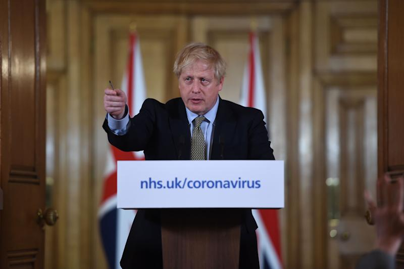 Prime Minister Boris Johnson speaking at a media briefing in Downing Street, London, on coronavirus (COVID-19) as NHS England announced that the coronavirus death toll had reached 104 in the UK.