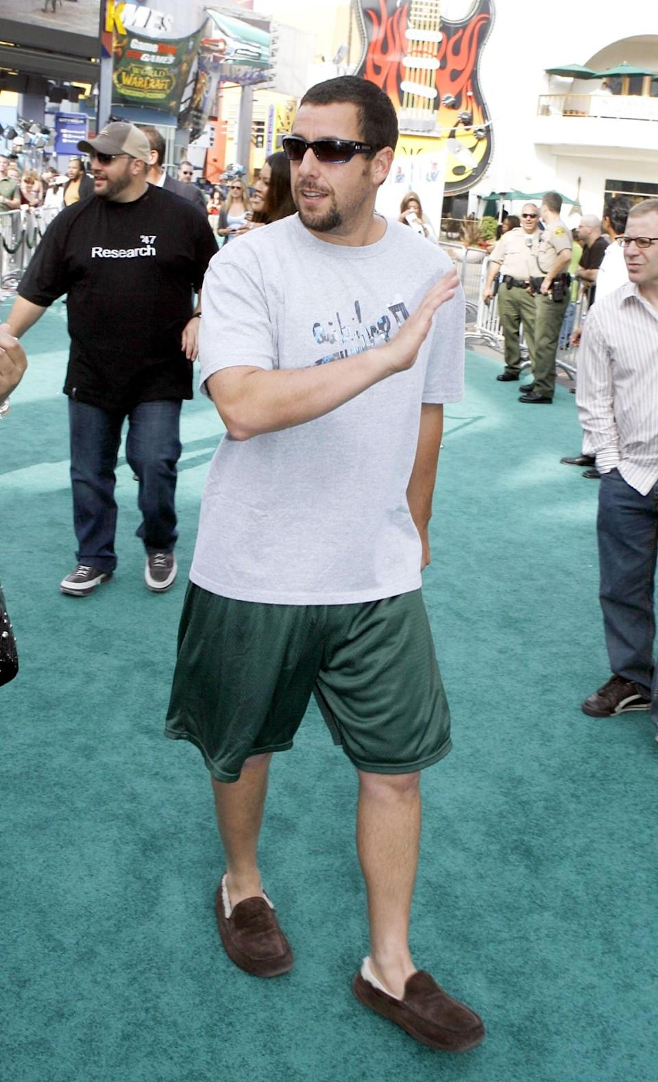 <p>The funnyman kept it real casual at the 2007 premiere of <i>Evan Almighty</i> in a T-shirt, gym shorts, and… slippers! (Photo: Kevin Winter/Getty Images)</p>
