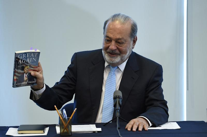 "Mexican tycoon Carlos Slim called a rare press conference to talk about ""the most surprising display of national unity that I have seen in my life"" (AFP Photo/ALFREDO ESTRELLA                    )"