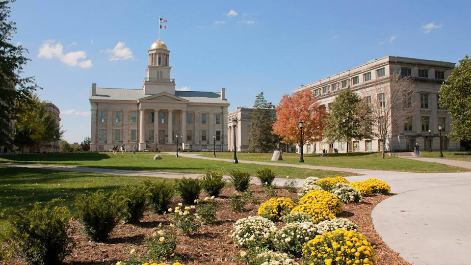 Iowa City, USA - October 8, 2011: The Old Capitol building on the Pentacrest on the campus of the University of Iowa.