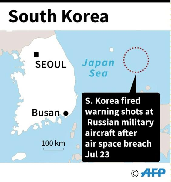 Map of South Korea showing the area where Russian military aircraft breached its air space on Tuesday