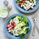 <p>In this cucumber, tomato, Swiss and chicken salad recipe, a healthy green goddess dressing is made from avocado, buttermilk and herbs. Any extra dressing is delicious served over grilled chicken or flaky white fish, such as cod or flounder.</p>