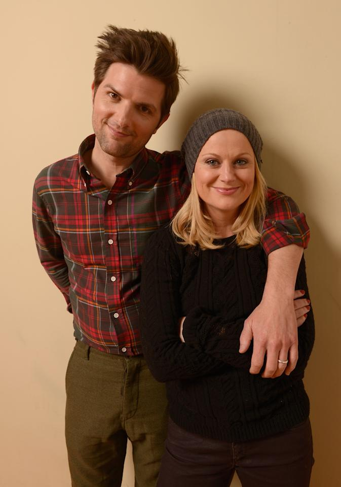 PARK CITY, UT - JANUARY 23:  Actors Adam Scott and Amy Poehler pose for a portrait during the 2013 Sundance Film Festival at the Getty Images Portrait Studio at Village at the Lift on January 23, 2013 in Park City, Utah.  (Photo by Larry Busacca/Getty Images)