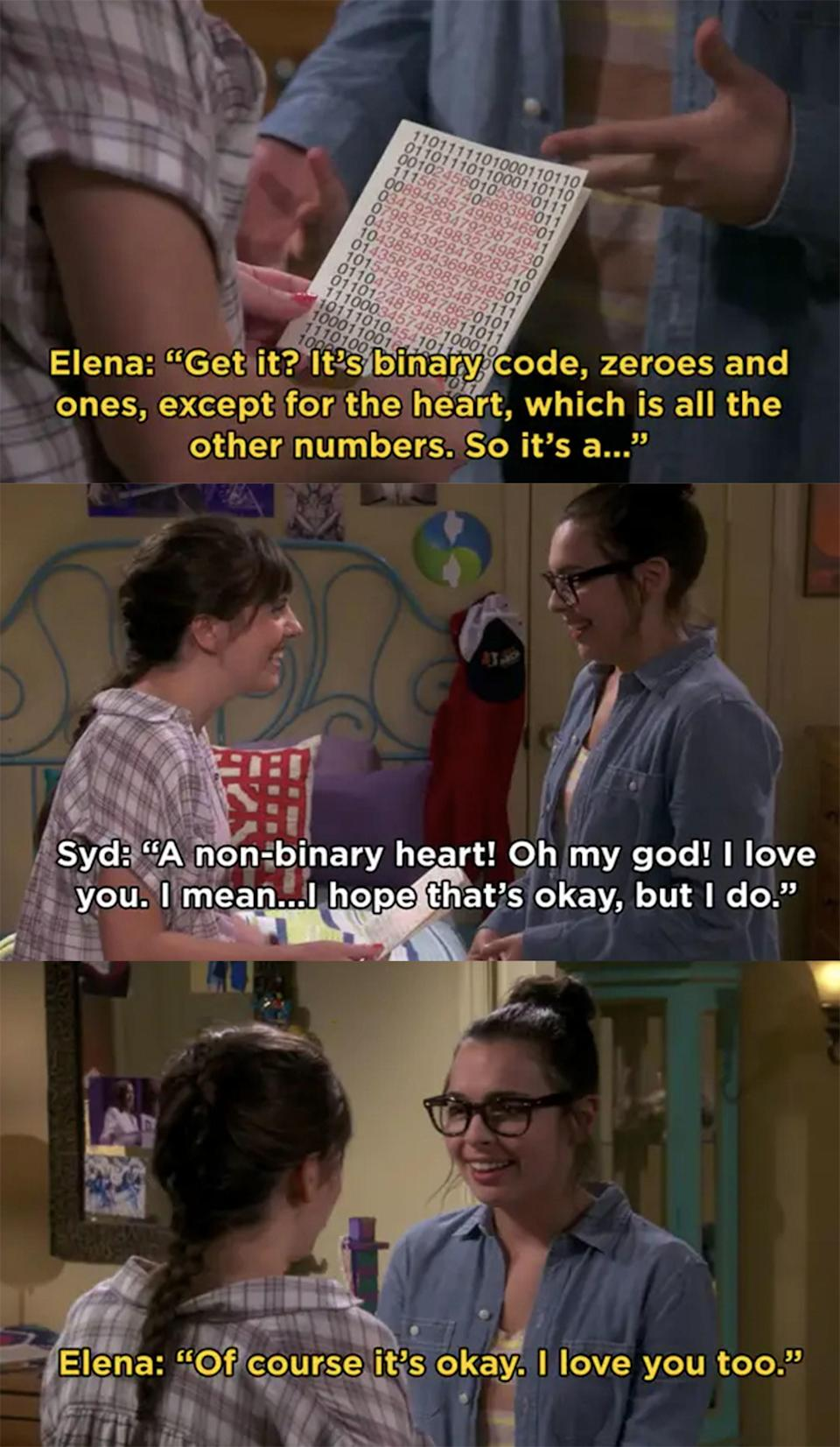 """Elena: """"It's binary code, zeroes and ones, except for the heart."""" Syd: """"A nonbinary heart! I love you, I mean, I hope that's okay, but I do."""" Elena: """"Of course it's okay. I love you too"""""""