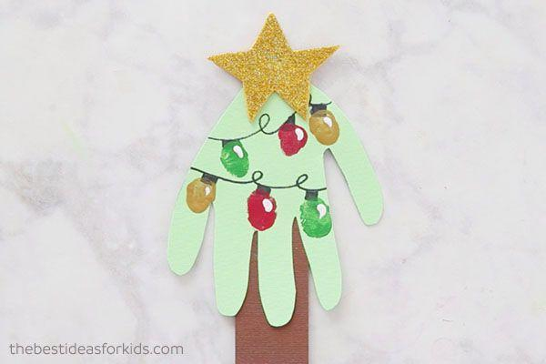 "<p>Trace kids' hands onto a piece of folded green card stock to make this Christmas tree-themed card. Top it off with colorful finger prints strategically placed to resemble bulbs on light strings.</p><p><em><a href=""https://www.thebestideasforkids.com/handprint-christmas-card/"" rel=""nofollow noopener"" target=""_blank"" data-ylk=""slk:Get the tutorial at The Best Ideas for Kids»"" class=""link rapid-noclick-resp"">Get the tutorial at The Best Ideas for Kids»</a></em></p>"