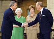 <p>Here is President Bush shaking hands with Prince Philip during a visit to the UK in 2003.</p>