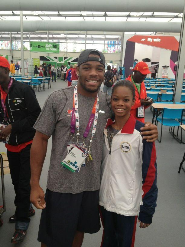 ‏Me and Olympic Champion @gabrielledoug Interrupted her lunch to get this pic! Sorry Gabby! @alliseeisgold