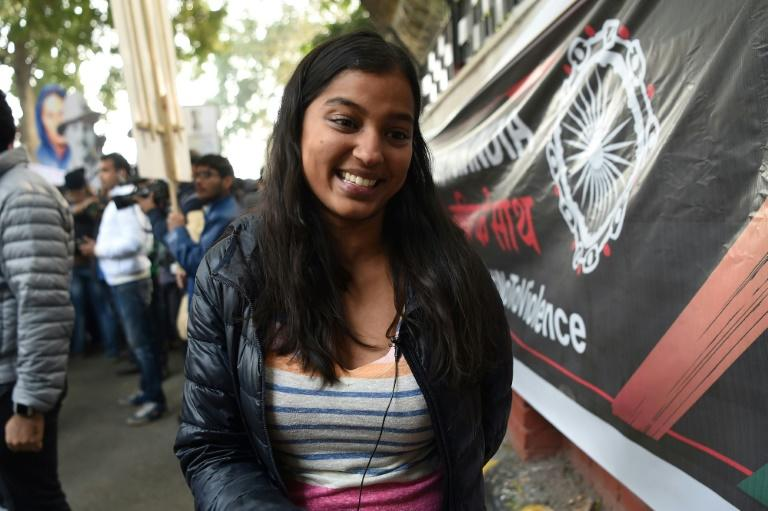 Mansi, 29, was accompanied on a protest against India's new citizenship law by her 64-year-old father