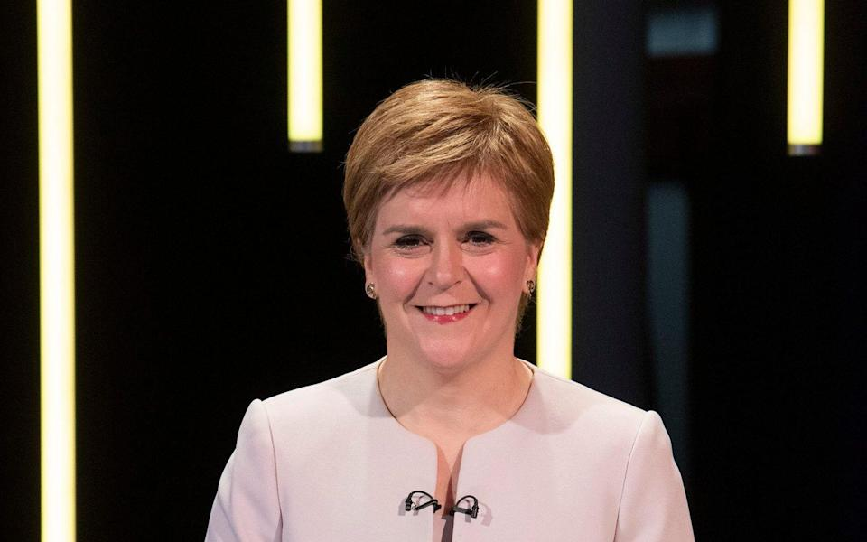 For use in UK, Ireland or Benelux countries only BBC handout photo of Scottish National Party leader Nicola Sturgeon during the Election Scotland 2021: Leaders' Debate at Edinburgh's Corn Exchange. PA Photo. Picture date: Tuesday May 4, 2021. The Scottish Parliamentary elections take place on Thursday. See PA story SCOTLAND Election. Photo credit should read: Kirsty Anderson/BBC/PA Wire NOTE TO EDITORS: Not for use more than 21 days after issue. You may use this picture without charge only for the purpose of publicising or reporting on current BBC programming, personnel or other BBC output or activity within 21 days of issue. Any use after that time MUST be cleared through BBC Picture Publicity. Please credit the image to the BBC and any named photographer or independent programme maker, as described in the caption. - Kirsty Anderson/BBC/PA Wire