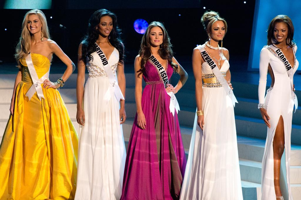 "The 5 Finalists for the Crown of Miss USA 2012 Miss Ohio USA 2012, Audrey Bolte; Miss Maryland USA 2012, Nana Meriwether; Miss Rhode Island USA 2012, Olivia Culpo; Miss Nevada USA 2012, Jade Ashley Kelsall; and Miss Georgia USA 2012, Jasmyn ""Jazz"" Alexandria Wilkins; during the LIVE NBC broadcast of the 2012 MISS USA Competition from the Planet Hollywood Resort & Casino Theatre for the Performing Arts, in Las Vegas, Nevada on Sunday, June 3, 2012."