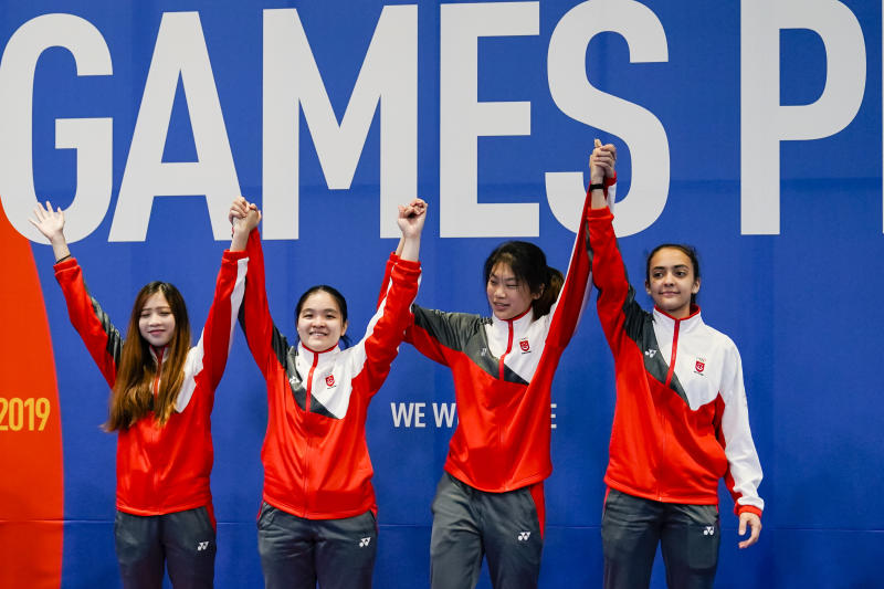 The victorious Singapore fencing women's foil team – (from left) Tatiana Wong, Maxine Wong, Denyse Chan and Amita Berthier. (PHOTO: SNOC/Kong Chong Yew)