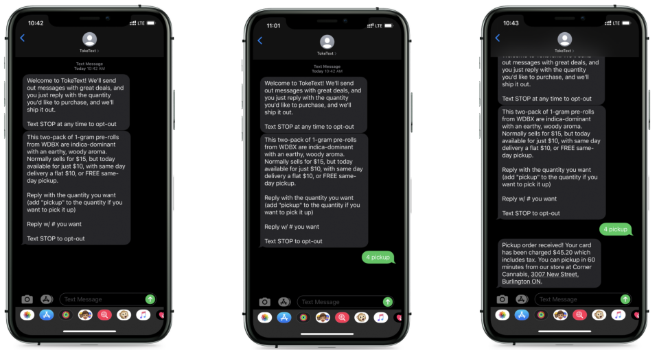 Screenshots of text messages from TokeText. (toketext.com)