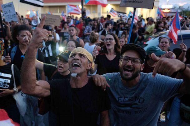 PHOTO: People march in protest against Puerto Rico's current Secretary of Justice Wanda Vazquez, next in line for Puerto Rico's governor, in San Juan, Puerto Rico, July 29, 2019. (Ricardo Arduengo/AFP/Getty Images)