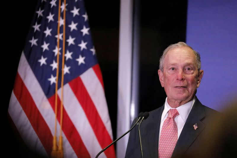 FILE PHOTO: Democratic U.S. presidential candidate Michael Bloomberg delivers remarks where he was honored by the Iron Hills Civic Association at the Richmond County Country Club in Staten Island, New York