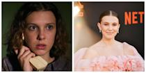 <p>Another <em>Stranger Things</em> character who looks quite different than the celebrity playing her is Eleven, especially from season one. In the beginning, when Eleven had a shaved head, she looked unrecognizable from Millie Bobby Brown. Even in season three, with a messy short bob, Eleven could still be a completely different person than Brown, who is known for being fashion-forward. </p>