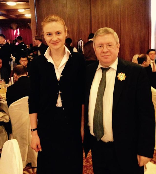 Maria Butina with Alexander Torshin at the National Prayer Breakfast in Washington, D.C., February 2015. (Photo: @Maria_Butina via Twitter)