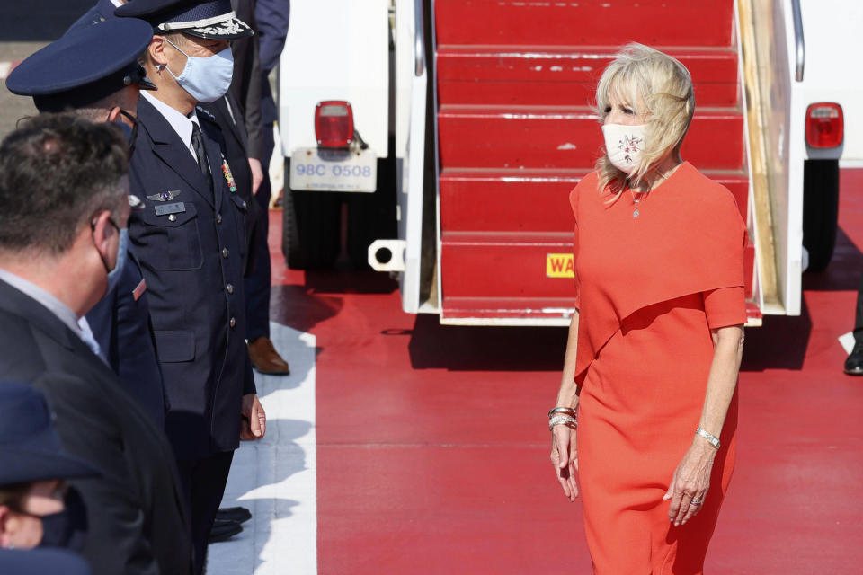 U.S. first lady Jill Biden arrives at Yokota U.S. Air Force Base, outskirts of Tokyo, Thursday, July 22, 2021. Biden represented the U.S. government at the Tokyo Olympics, arrived to attend the opening ceremony of the Games on Friday, July 23. (Kyodo News via AP)