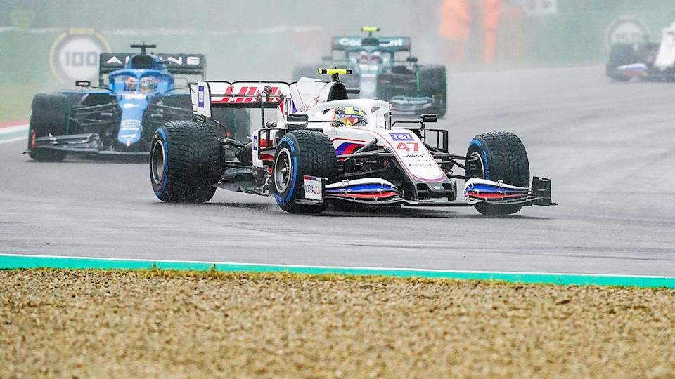 Mick Schumacher, pictured here in action at the Emilia Romagna Grand Prix.