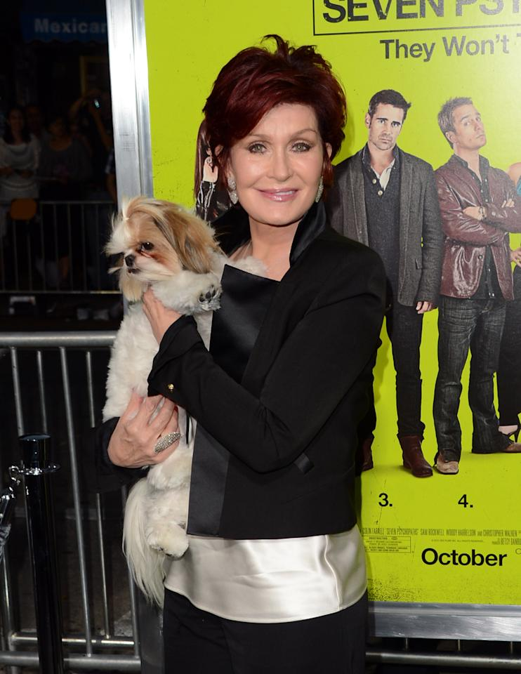 "WESTWOOD, CA - OCTOBER 01:  TV personality Sharon Osbourne arrives at the premiere of CBS Films' ""Seven Psychopaths"" at Mann Bruin Theatre on October 1, 2012 in Westwood, California.  (Photo by Jason Merritt/Getty Images)"
